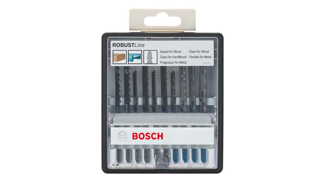 Bosch Robust Line / 2607010542 Coffret de lames pour scie sauteuse 10 pièces Bois et métal Tige en T