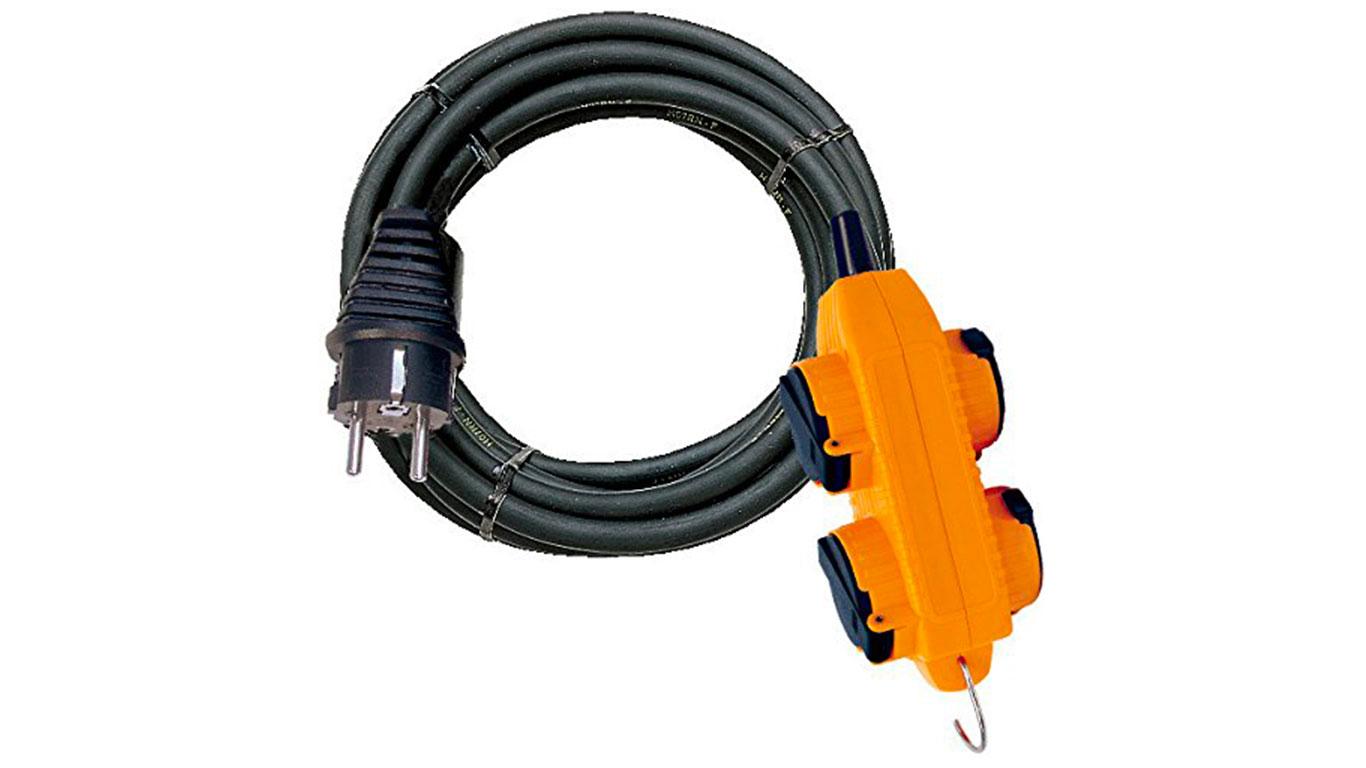 Brennenstuhl 1151721 Rallonge électrique Powerblock + 4 prises à clapet IP44 10 m H07RN-F 3G1,5 Noir