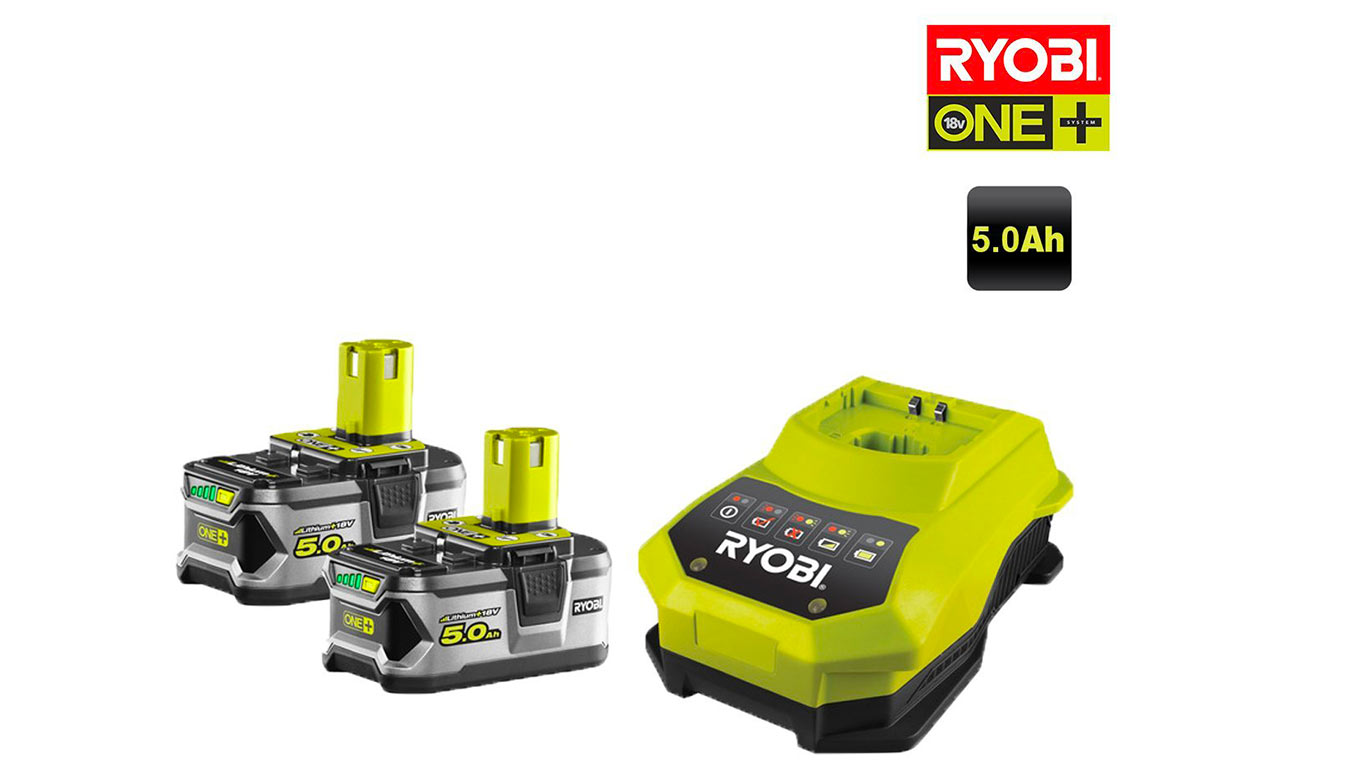 Pack de 2 batteries RYOBI 18V OnePlus 5.0Ah Lithium-ion - 1 chargeur rapide RBC18LL50