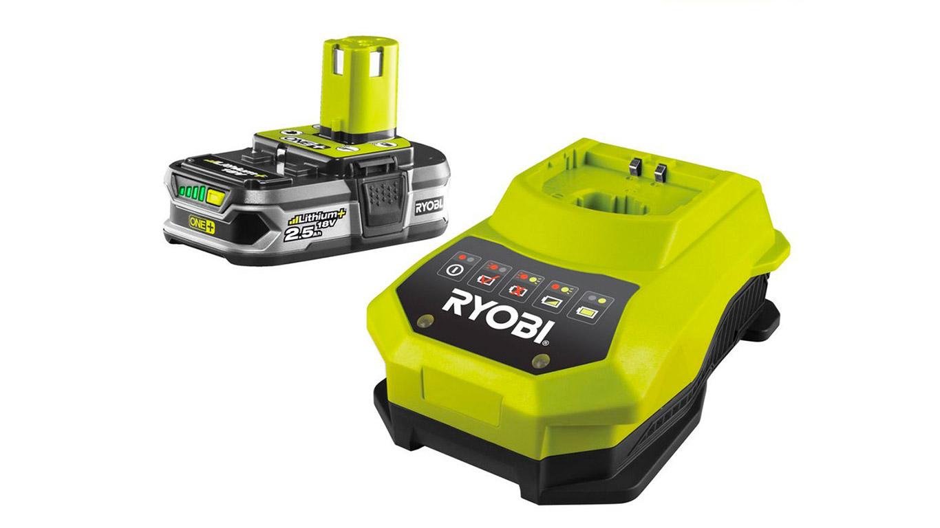 Ryobi RBC18L25 Chargeur 1 h et batterie lithium-ion 18 V 2,5 Ah