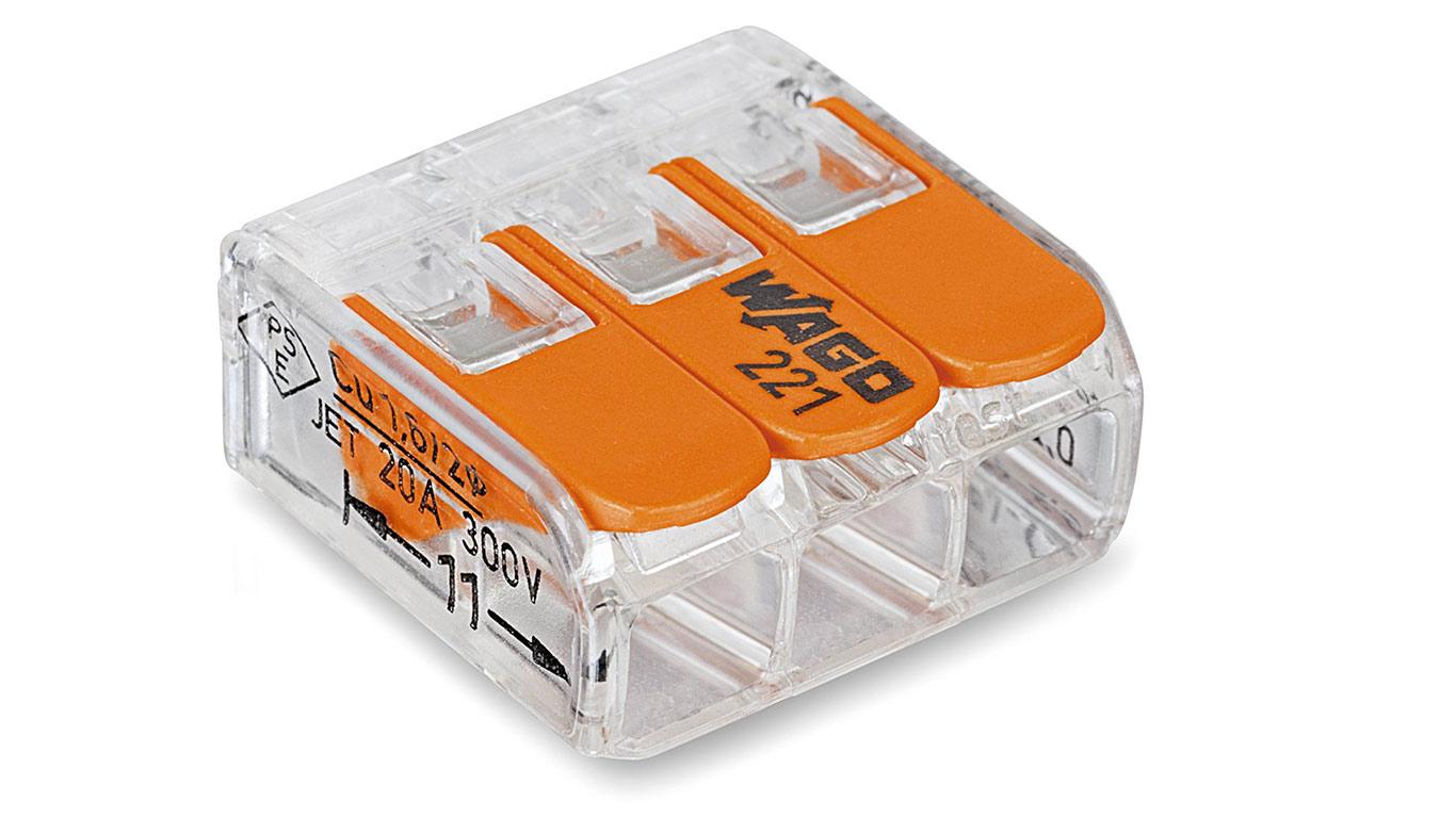 Wago 221-413 Borne de connexion 3 fils 0,2 à 4 mm² avec levier de commande Transparent Modèle compact