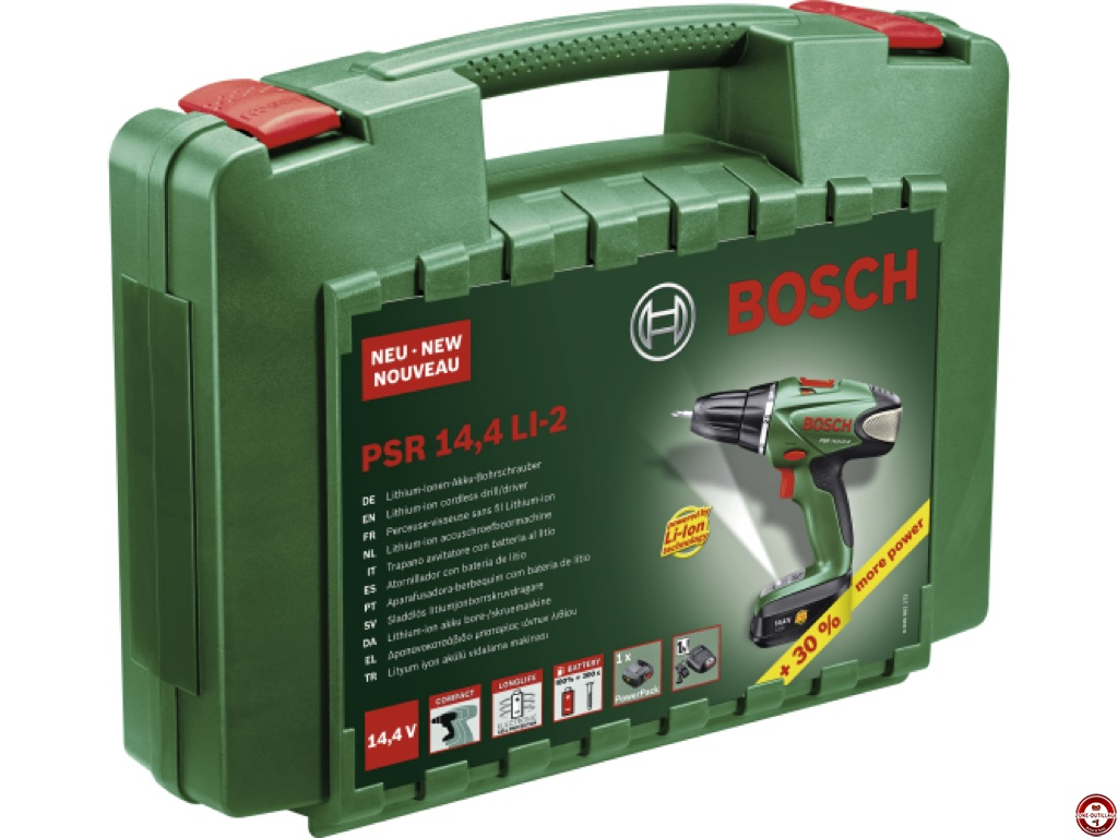 Perceuse/visseuse sans fil Bosch PSR 14,4 LI (2 batteries) sur Fonq.be