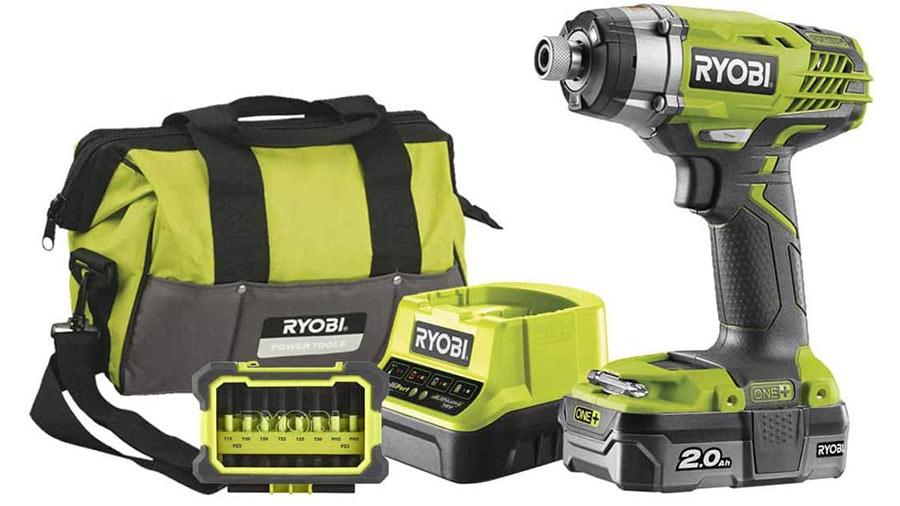 Coffret visseuse à chocs 18 V sans fil Ryobi R18ID3-120S avec batterie 2,0 Ah et chargeur rapide R18ID3-120S