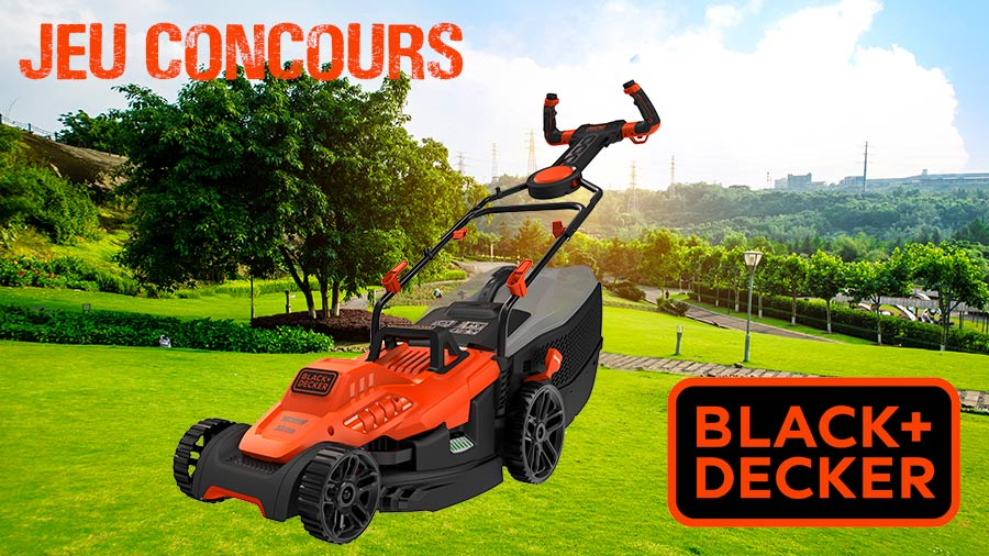jeu concours une tondeuse gazon lectrique easysteer bemw471es black decker gagner. Black Bedroom Furniture Sets. Home Design Ideas
