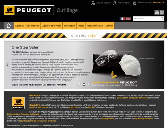 Site internet Peugeot Outillage