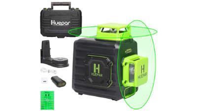 2 x 360 Niveau laser croix vert avec batterie Li-ion rechargeable HUEPAR B02CG