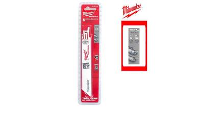 Pack de 5 lames de scie sabre bi-metal/co 150 mm MILWAUKEE SAWZALL 18 TPI 48005184