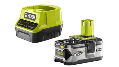 Pack de 1 batterie RYOBI 18V OnePlus 4.0 Ah Lithium-ion - 1 chargeur rapide RC18120-140