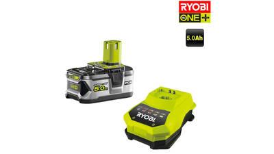 Pack de 1 batteries RYOBI 18V OnePlus 5.0Ah Lithium-ion - 1 chargeur rapide RBC18L50