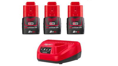 Pack de 3 batteries NRJ Milwaukee M12 2.0Ah - Chargeur 4933459210