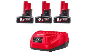 Pack de 3 batteries NRJ Milwaukee M12 6.0Ah - Chargeur 4933459208