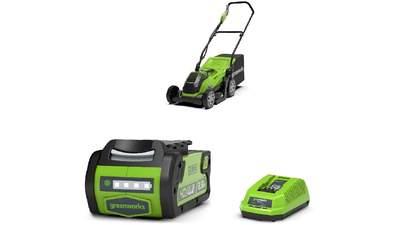 Tondeuse à gazon à batterie 1 batterie 2.5Ah + 1 chargeur Greenworks G40LM35