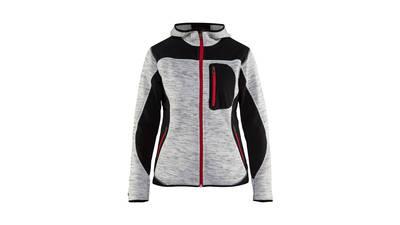 Veste de travail tricotée à capuche gris chiné/noir pour femme Blaklader