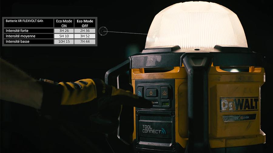 DCL074 : le nouvel éclairage de chantier sans-fil connecté DEWALT