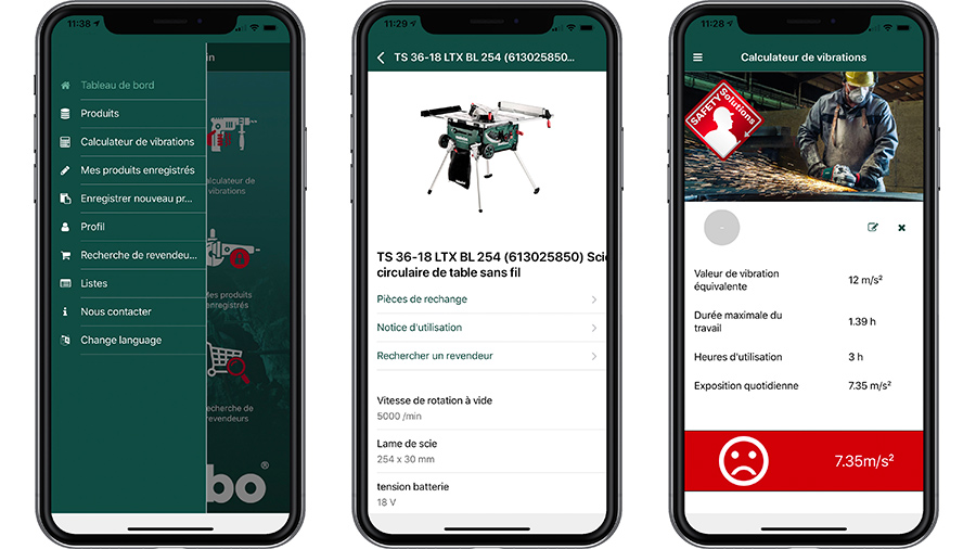Fonctionnalités application Metabo